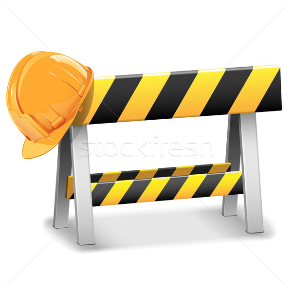 Vector Under Construction Barrier with Helmet Stock photo © dashadima