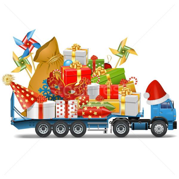 Vector Trailer with Christmas Gifts Stock photo © dashadima