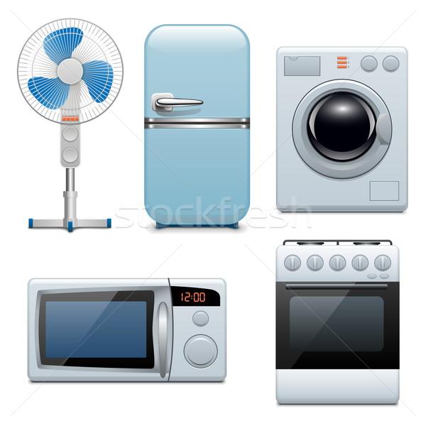 Vecteur domestique appareils icônes alimentaire maison Photo stock © dashadima
