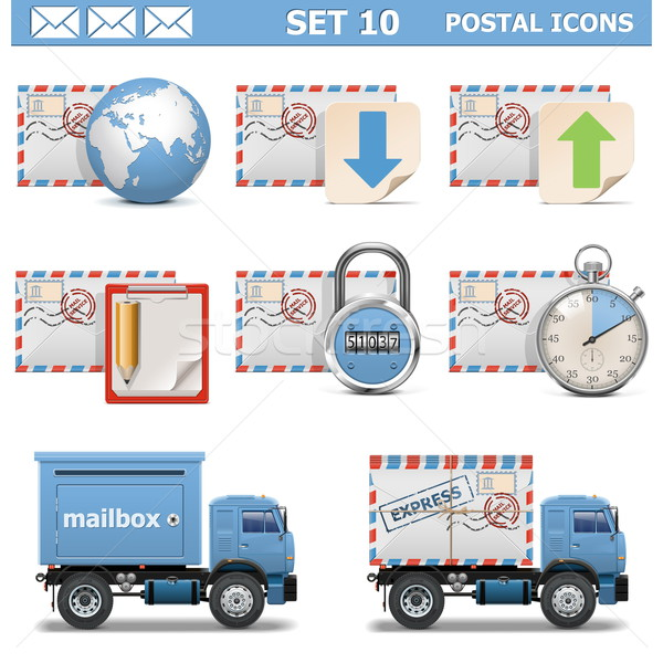 Vector Postal Icons Set 10 Stock photo © dashadima
