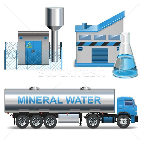 Vektor Mineral Produktion isoliert weiß Bau Stock foto © dashadima