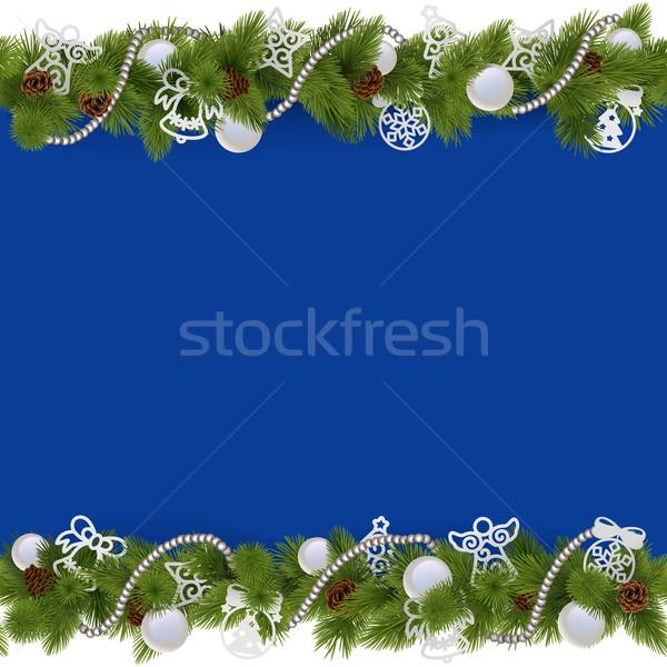 Vektor kék karácsony keret gyöngyök izolált Stock fotó © dashadima