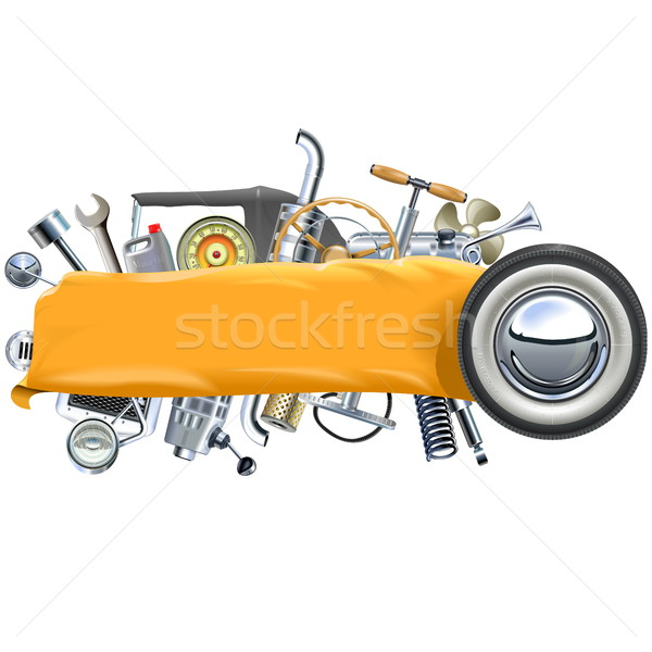 Vector Banner with Retro Car Spares Stock photo © dashadima