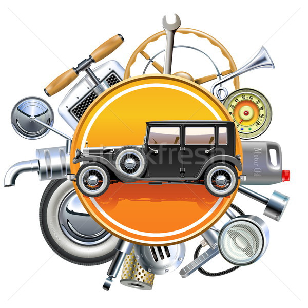 Vector Retro Car Parts with Old Automobile Stock photo © dashadima