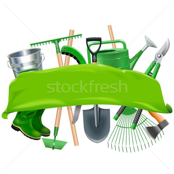 Vector Green Banner with Garden Tools Stock photo © dashadima