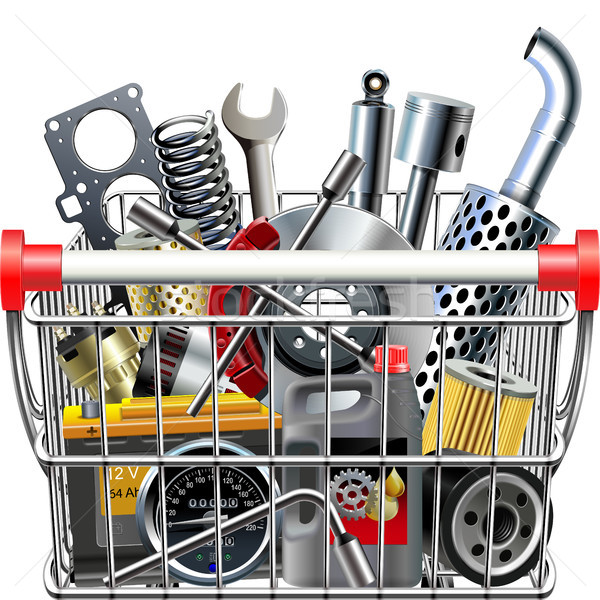 Vector Supermarket Cart with Car Parts Rear View Stock photo © dashadima