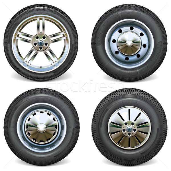 Foto stock: Vetor · retro · moderno · carro · rodas · vista · lateral