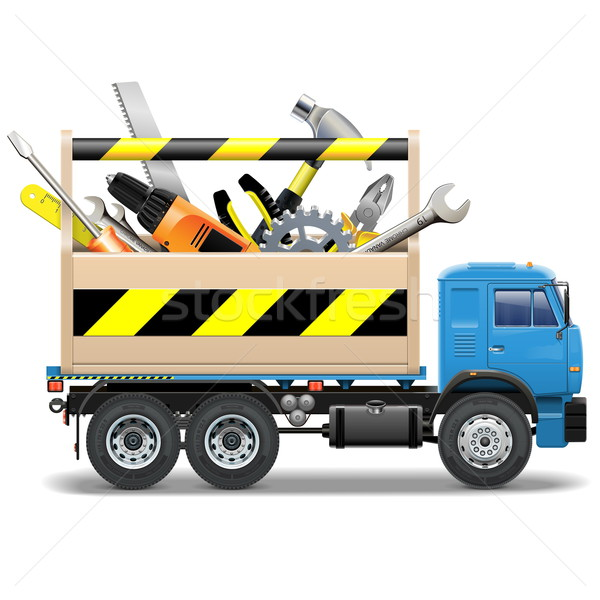 Stock photo: Vector Toolbox and Truck