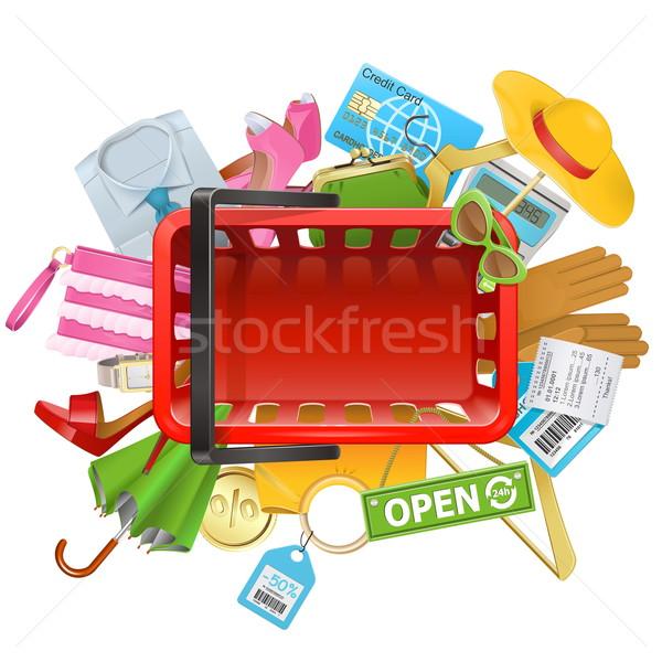 Vector Shopping Concept with Basket Stock photo © dashadima