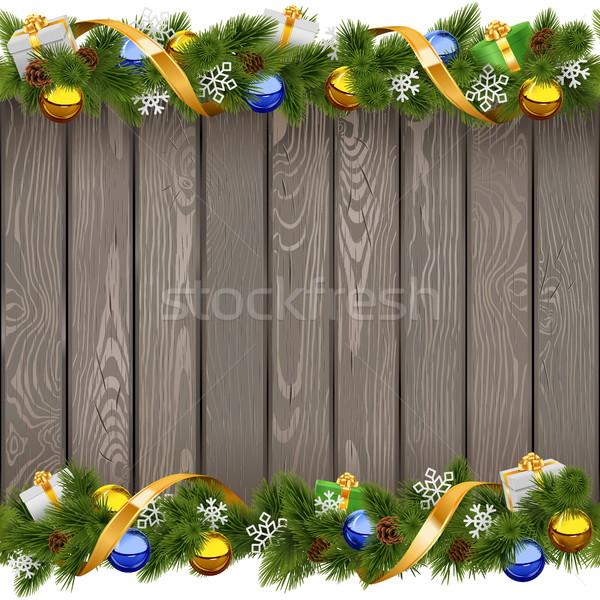 Vektör Noel eski tahta altın Stok fotoğraf © dashadima