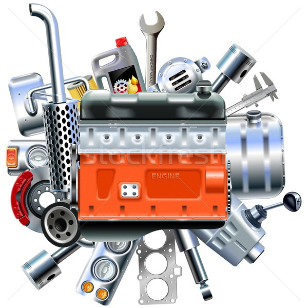 Vector Engine with Truck Spares Stock photo © dashadima