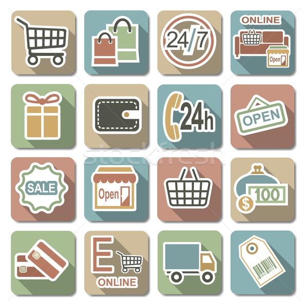 Vector Shopping Flat Icons Stock photo © dashadima