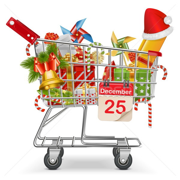 Vector Cart with Christmas Decorations Stock photo © dashadima