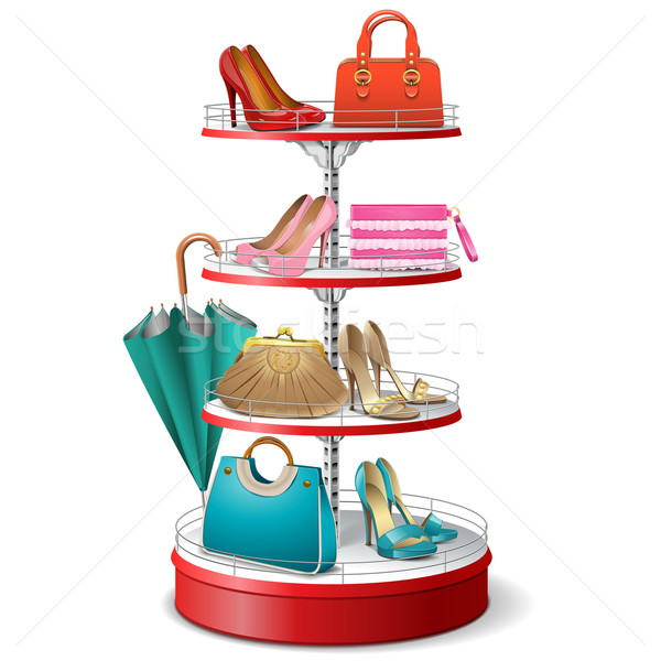 Vector Round Shelf with Female Accessories Stock photo © dashadima