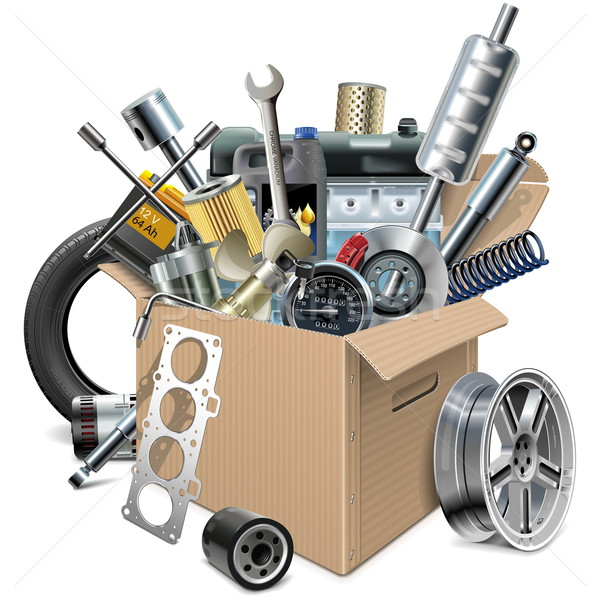 Vector Carton Box with Car Spares Stock photo © dashadima