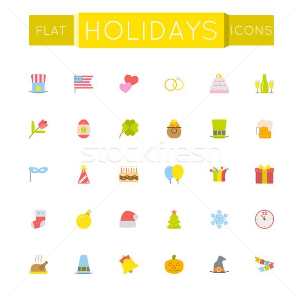 Stock photo: Vector Flat Holidays Icons