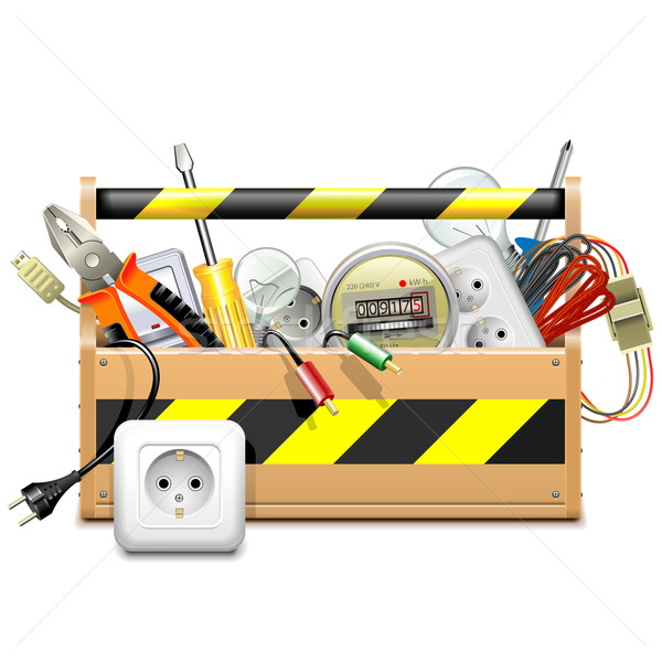 Vector Toolbox with Electric Accessories Stock photo © dashadima