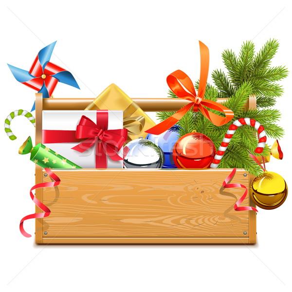 Stock fotó: Vektor · karácsony · szerszámosláda · izolált · fehér · textúra