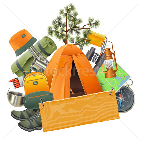 Vetor camping tenda isolado branco sapatos Foto stock © dashadima