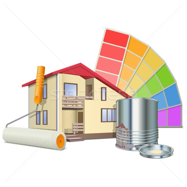 Vector Painting Concept with House Stock photo © dashadima