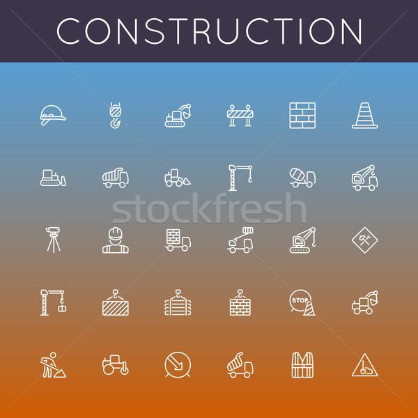 Foto stock: Vetor · construção · linha · ícones · isolado · gradientes