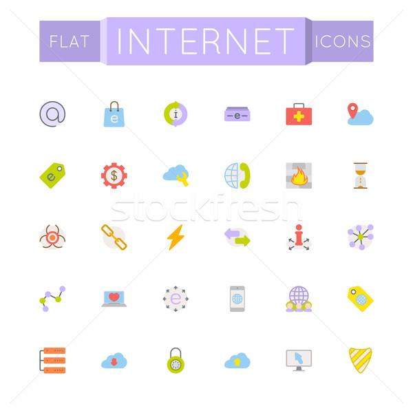 Vektor internetes ikonok izolált fehér pénz internet Stock fotó © dashadima
