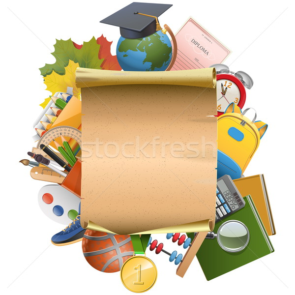 Vector Education Concept with Scroll Stock photo © dashadima