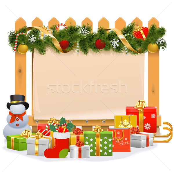 Vector Wooden Fence with Christmas Decoration Stock photo © dashadima