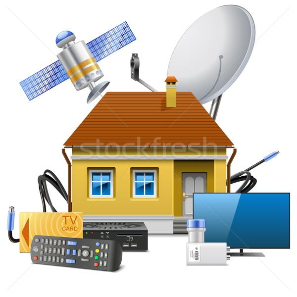 Vetor casa satélite equipamento isolado branco Foto stock © dashadima