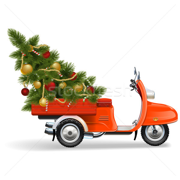 Vector Orange Scooters with Christmas Tree Stock photo © dashadima