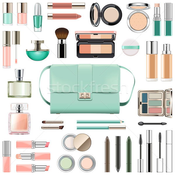 Stockfoto: Vector · make · cosmetica · mint · groene · handtas