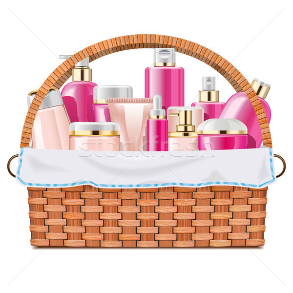 Vector Basket with Skin Grooming Products Stock photo © dashadima