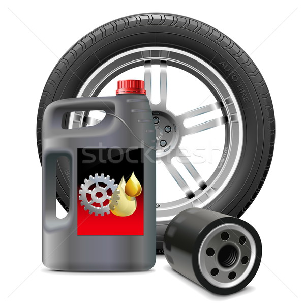 Vector Engine Oil with Oil Filter and Tire Stock photo © dashadima