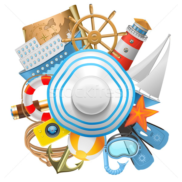 Vector Cruise Concept with Hat Stock photo © dashadima