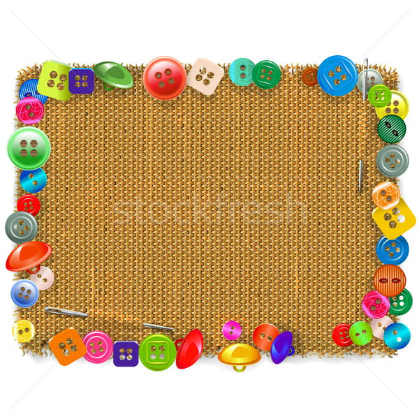 Vector Sackcloth Frame with Buttons Stock photo © dashadima