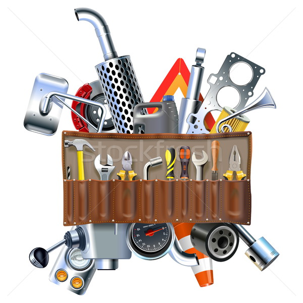 Vector Tool Kit with Car Spares Stock photo © dashadima