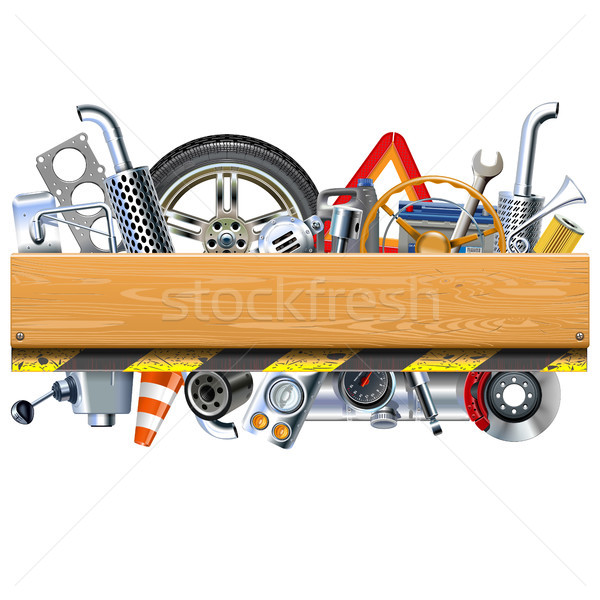 Vector Car Parts with Wooden Board Stock photo © dashadima