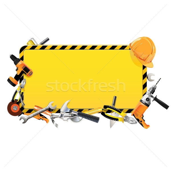 Stock photo: Vector Construction Frame with Tools