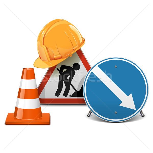 Vector verkeersborden helm kegel oranje teken Stockfoto © dashadima