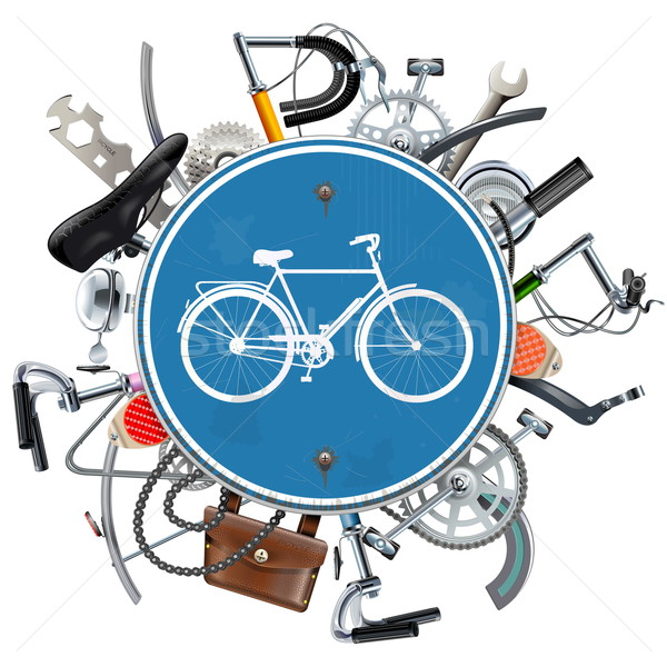 Vector Bicycle Spares Concept with Blue Round Sign Stock photo © dashadima
