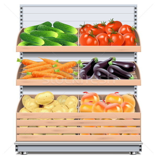 Vector Supermarket Shelf with Vegetables Stock photo © dashadima