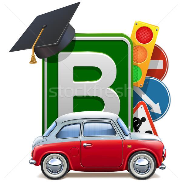 Vector Driving School Concept with Automobile Stock photo © dashadima