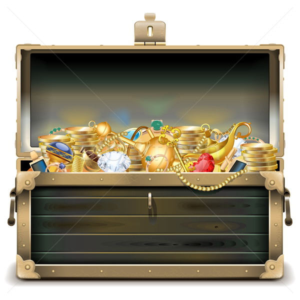Vector Old Wooden Chest with Gold Stock photo © dashadima