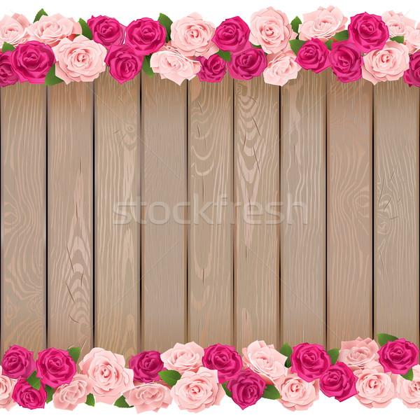 Vector naadloos bloem frame geïsoleerd witte Stockfoto © dashadima