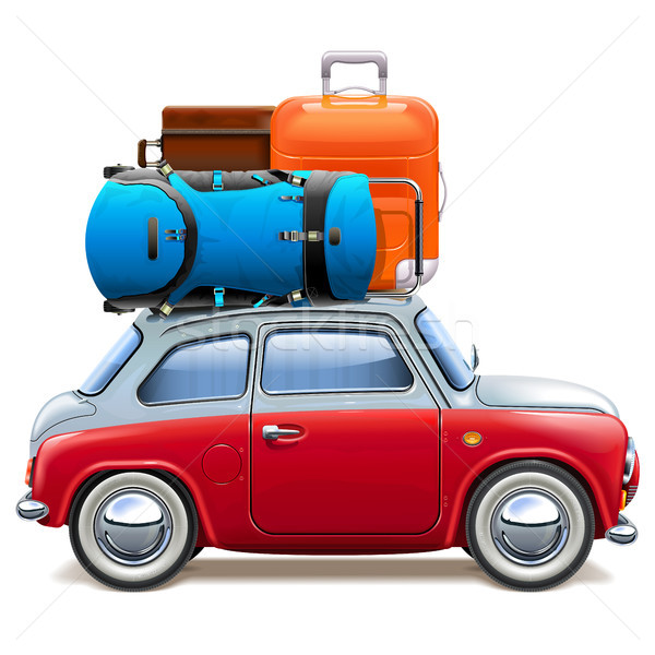 Vector Red Car with Baggage Stock photo © dashadima