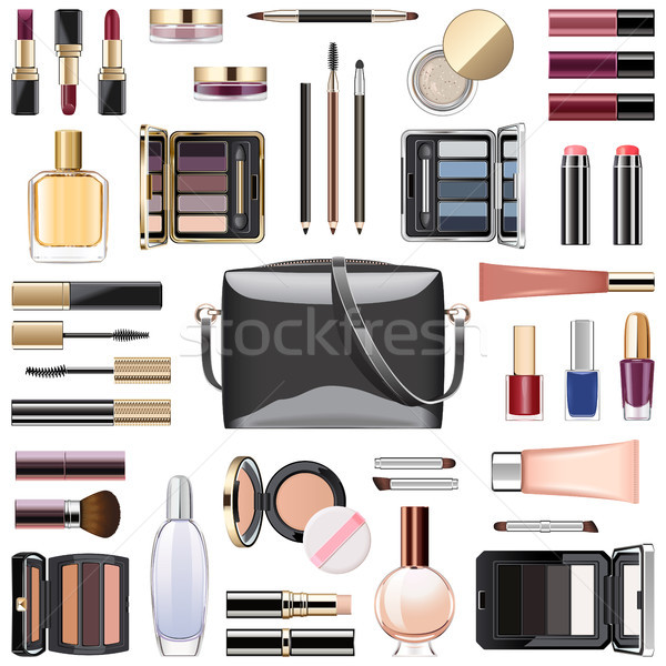 Vektor Make-up Kosmetik schwarz Handtasche isoliert Stock foto © dashadima