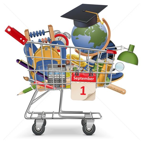 Vector Trolley with School Supplies Stock photo © dashadima