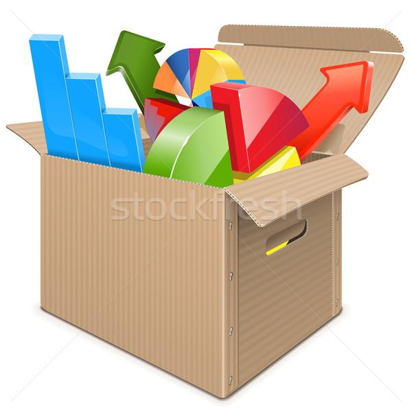 Vector Carton Box with Statistics Stock photo © dashadima