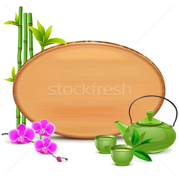 Vecteur vert théière isolé blanche Photo stock © dashadima