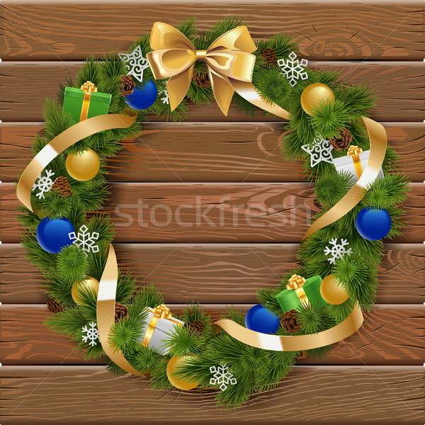 Vector Christmas Wreath on Wooden Board 6 Stock photo © dashadima
